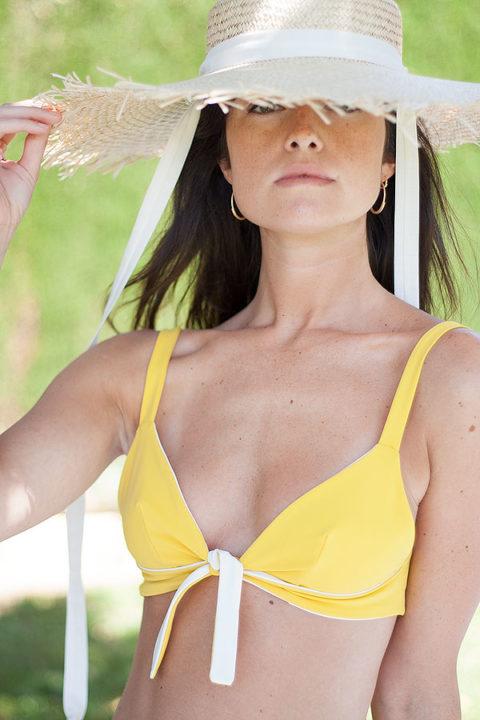 Knotted Yellow Bikini Retro - ILOVEBELOVE