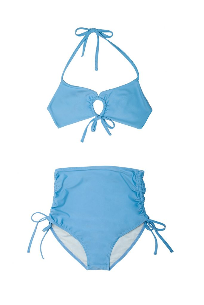 Knotted bikini gathered light blue high bottom - ILOVEBELOVE