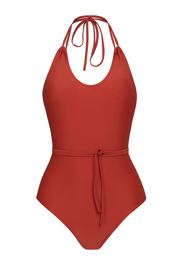 One piece red coral - ILOVEBELOVE