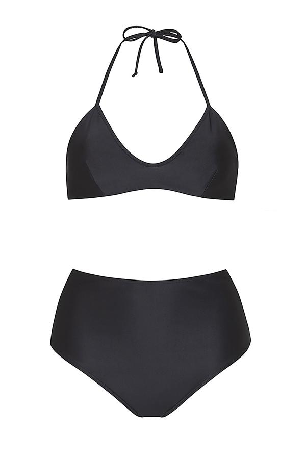 Black knotted bikini and hight waist bottom- ILOVEBELOVE
