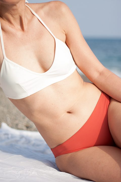 Ivory knotted top and coral bottom bikini - ecofriendly swimwear - ILOVEBELOVE