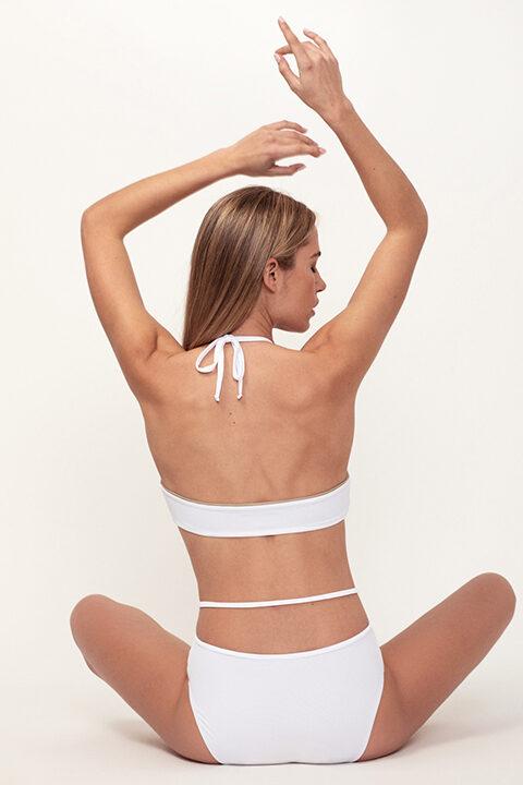 White gathered bikini - high bottom - ILOVEBELOVE