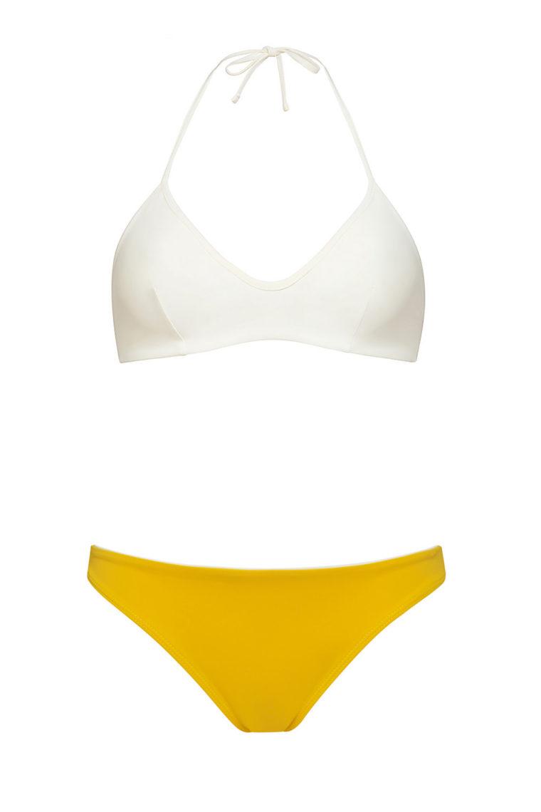 Ivory knotted top and yellow bottom bikini - ecofriendly swimwear - ILOVEBELOVE