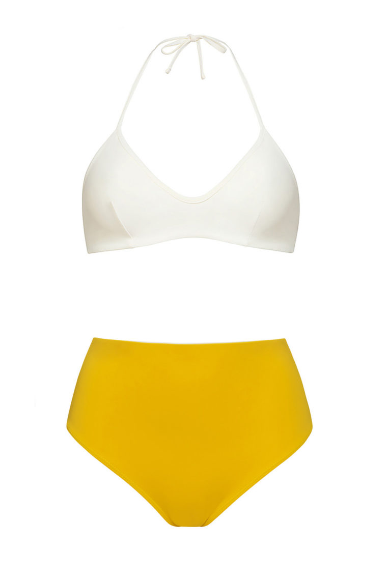Ivory knotted top and high waist yellow bottom bikini - ecofriendly swimwear - ILOVEBELOVE