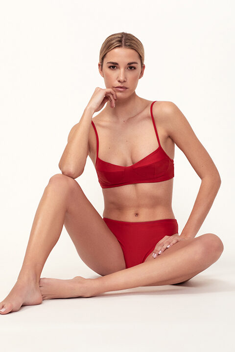Red balconette bikini low-waisted bottom