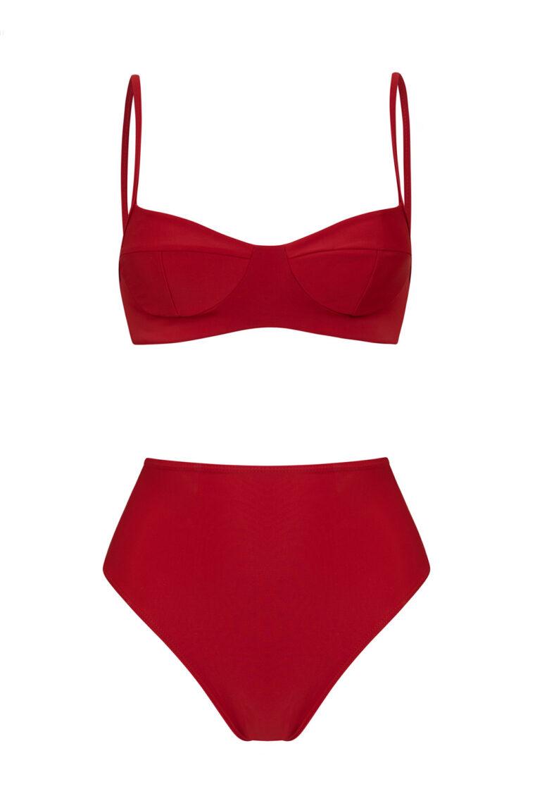 Red balconette bikini high-waisted bottom