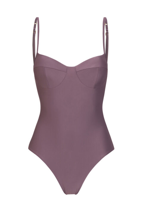 Lilac balconette swimsuit inspired by 90's