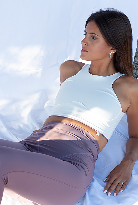 Reversible top white and lilac